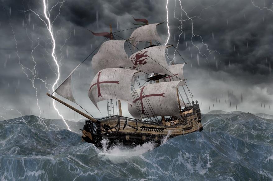 3D Segelschiff Galeone in strmischer See